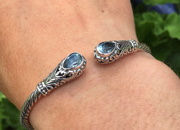 Blue topaz hinged cuff bracelet