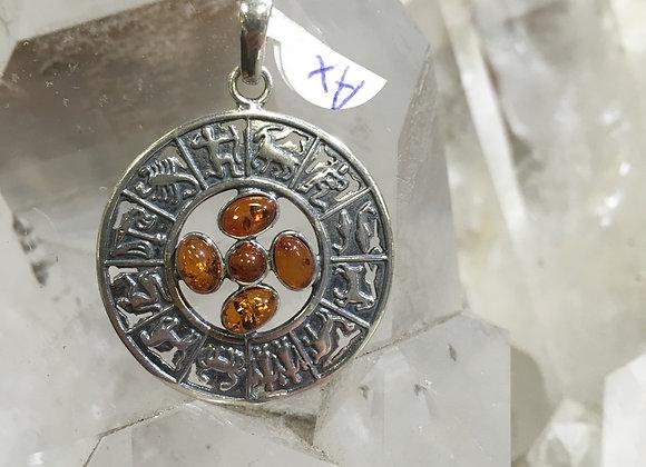 Zodiac signs amber pendant