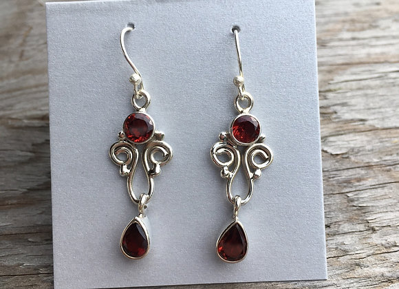 Garnet swirl drop earrings
