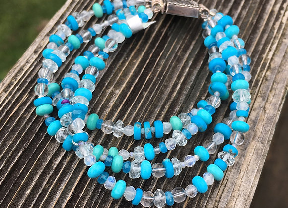 Four strand sleeping beauty turquoise mix bracelet