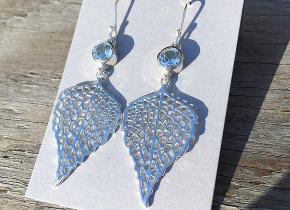Large blue topaz leaf earrings