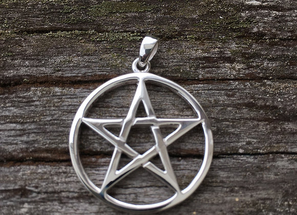 Pentagram in circle pendant