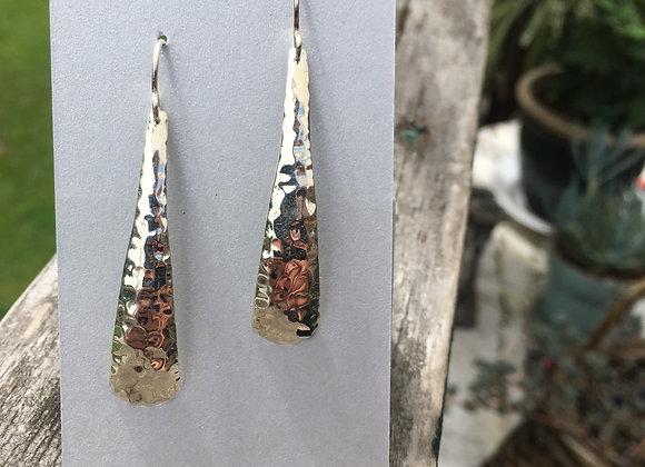 Long hammered silver earrings