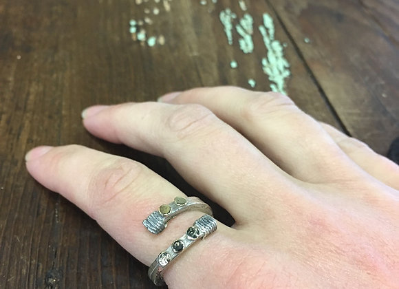 Yutal designs silver and gold wrap ring