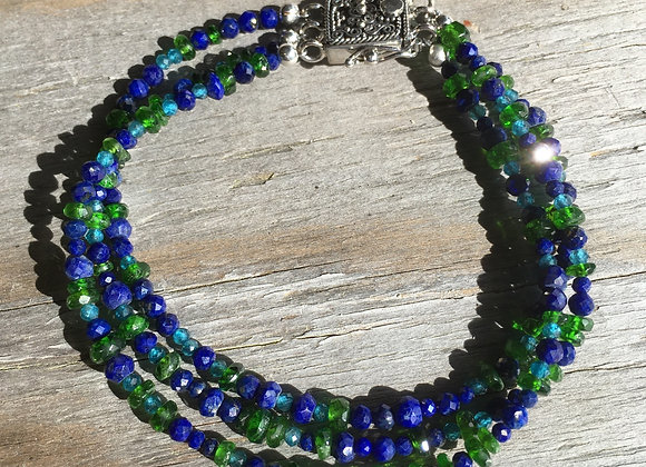 GenVie designs lapis, apatite and Chrome diopside bracelet