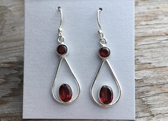 Two stone floating garnet drop earrings