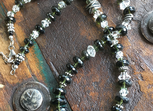 Moldavite faceted necklace with Herkimer diamond