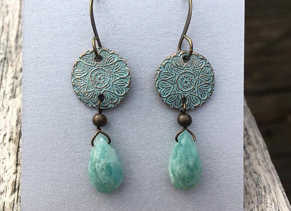 Alasha bronze with Peruvian opal drops