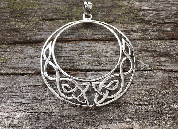 Large round Celtic crescent pendant