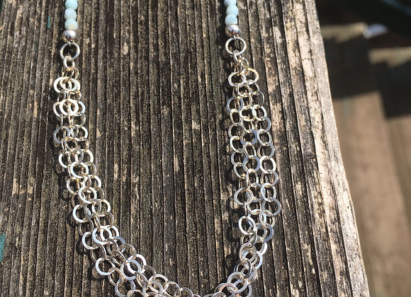 Larimar and silver chaining necklace