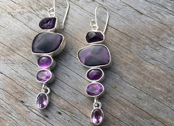 Multi stone amethyst cascade earrings