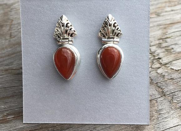 Carnelian stud drop earrings
