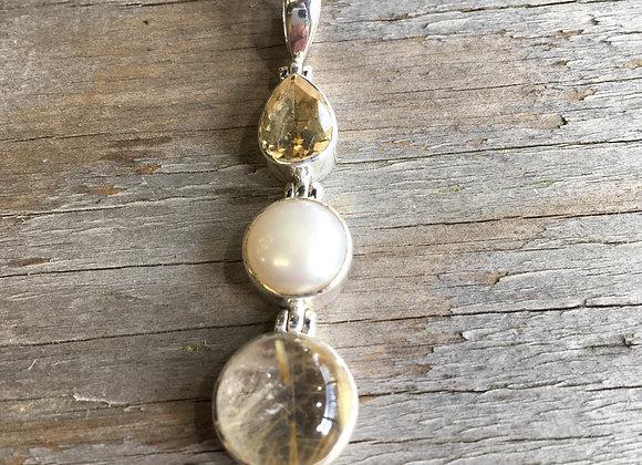 Citrine, pearl, golden rutile quartz pendant