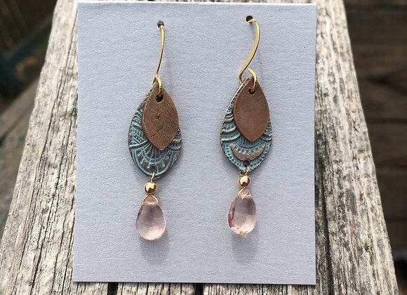 Alasha double bronze with pink crystal