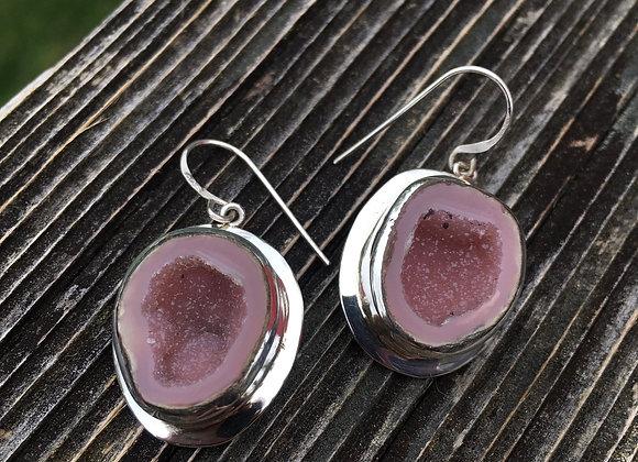 Large deep pink tobasco geode earrings