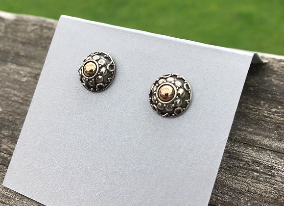 Silver and gold granulated studs