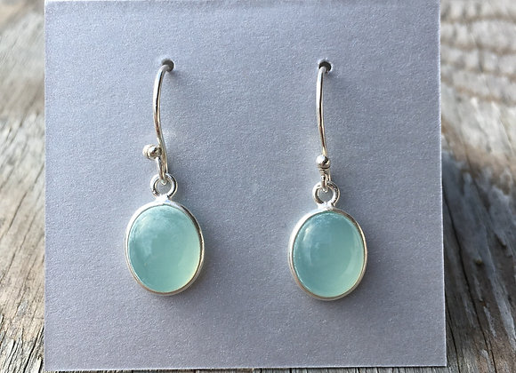 Oval seafoam chalcedony earrings