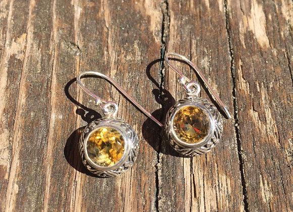 Ornate setting citrine earrings