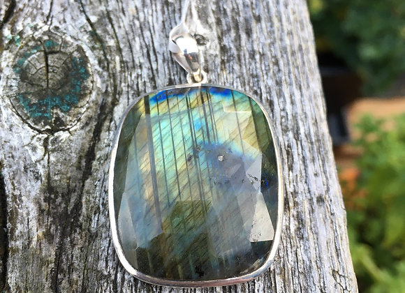 Soft rectangle faceted labradorite