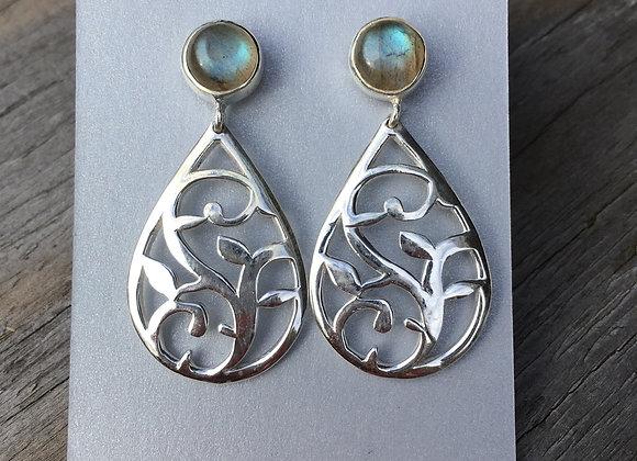 Stud drop labradorite leaf earrings