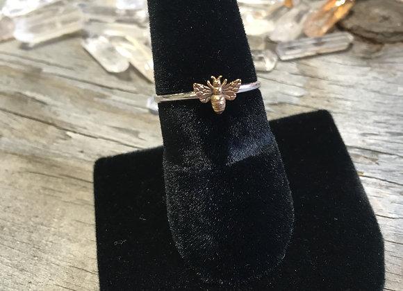 Tiny bronze bee stacker ring