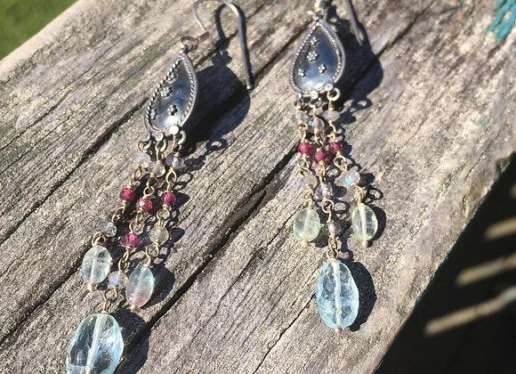 Aquamarine and tourmaline chandelier earrings