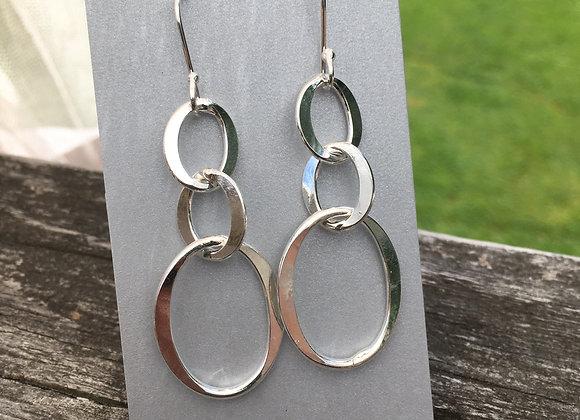 Three loop dangle earrings
