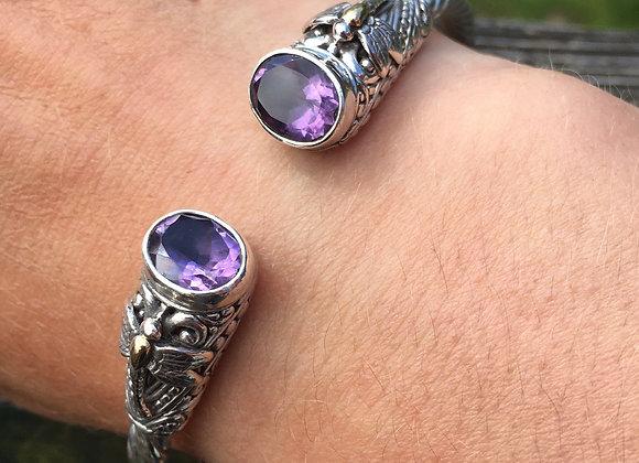 Amethyst dragonfly hinged bracelet