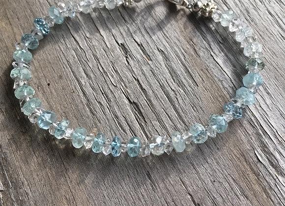 Aquamarine and Herkimer Diamond single strand bracelet
