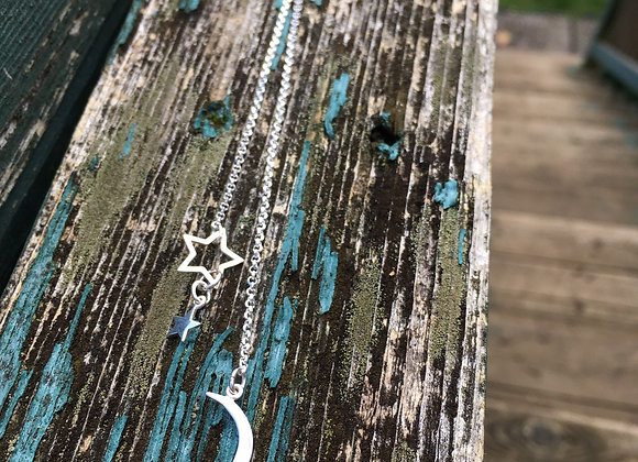 Long lariat style moon and stars necklace
