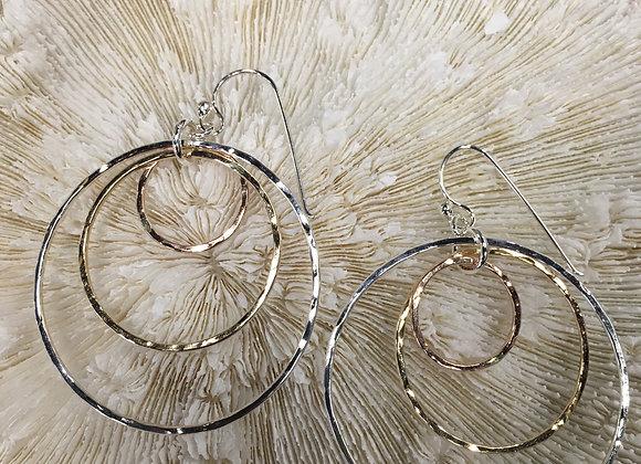 Mikel Grant tri-metal triple hoop earrings