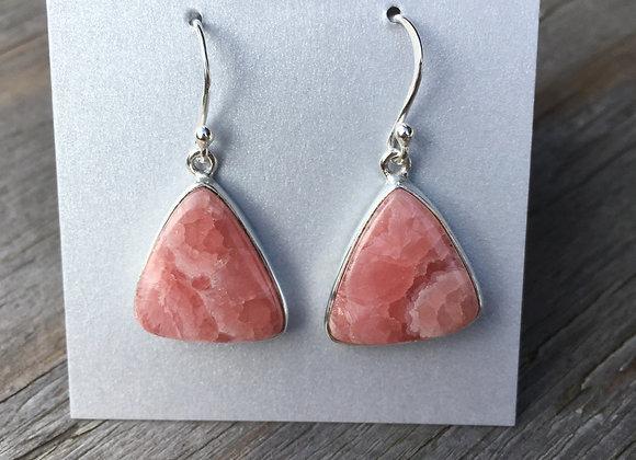 Rhodochrosite triangle earrings