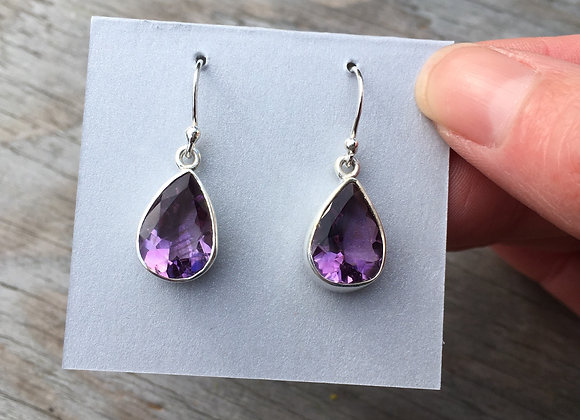 Teardrop faceted amethyst earrings