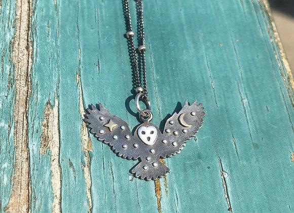 Night sky owl pendant