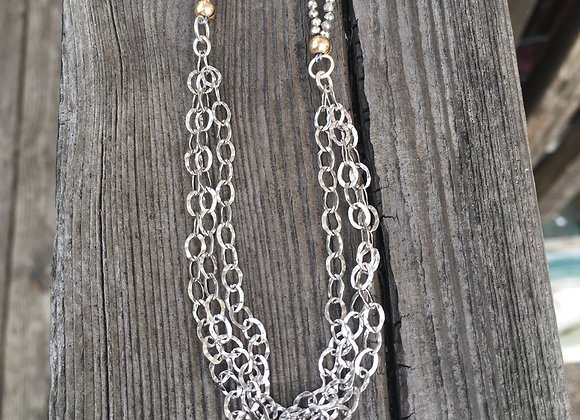 Pyrite and chaining wrap necklace
