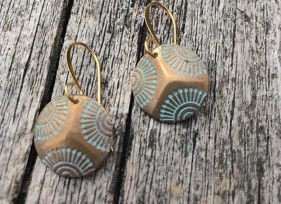 Alasha round bronze earrings