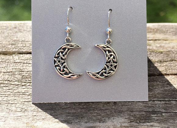 Celtic knot crescent moon earrings
