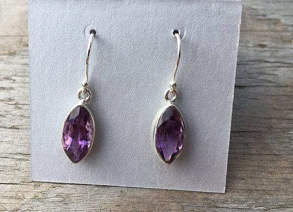 Marquis faceted amethyst earrings