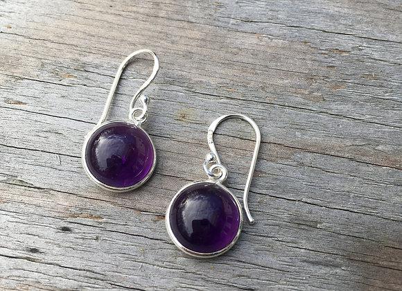 Round cabochon amethyst earrings