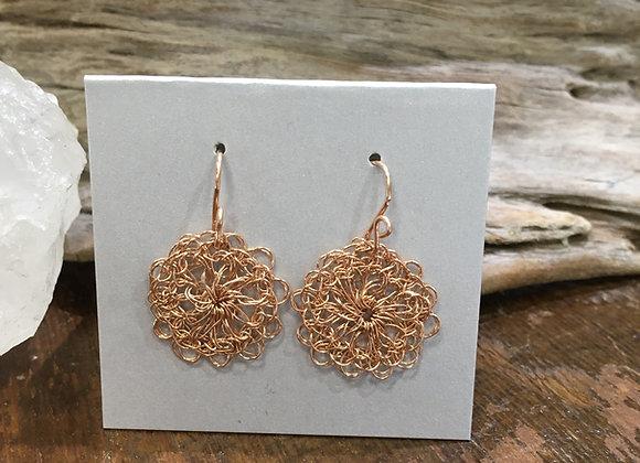 Streetcat Designs small rose gold crochet earrings