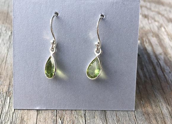 Simple little peridot teardrop earrings