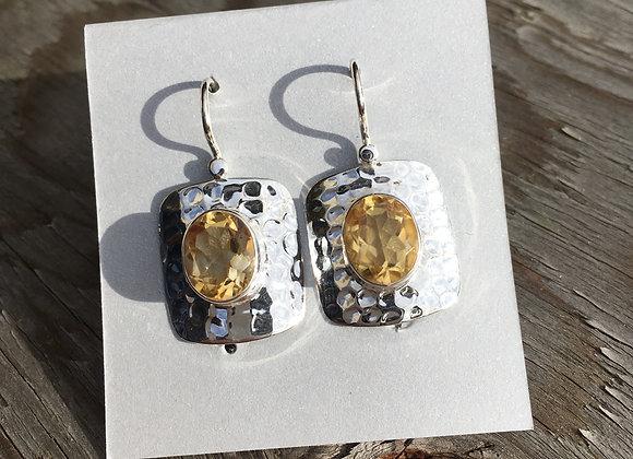 Hammered silver citrine earrings