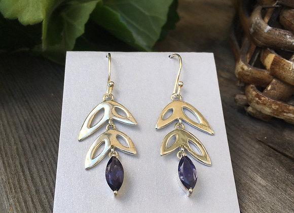 Iolite leaves earrings