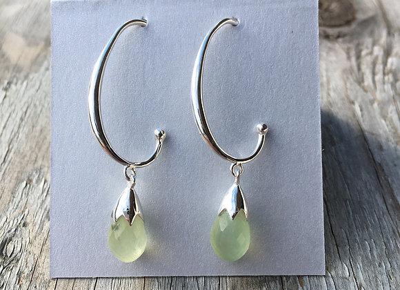 Prehnite half hoop drop earrings