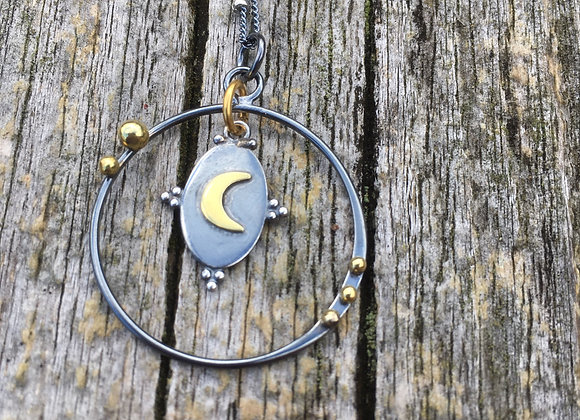 Floating moon in oxidized silver pendant