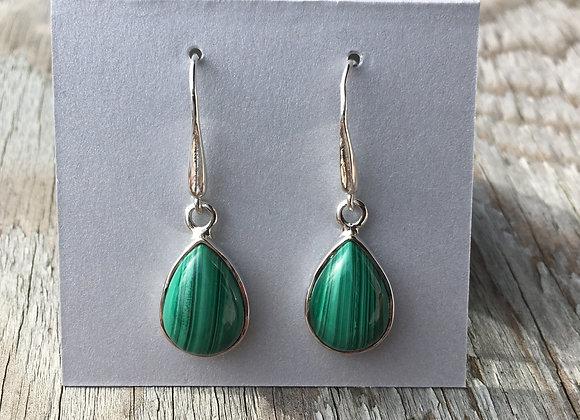 Malachite teardrop earrings