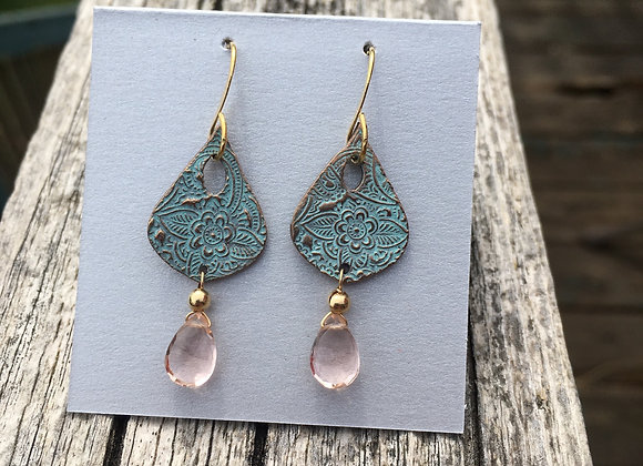 Alasha bronze teardrop with pink crystal