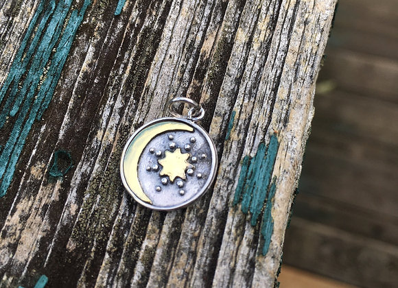 Oxidized moon and star talisman