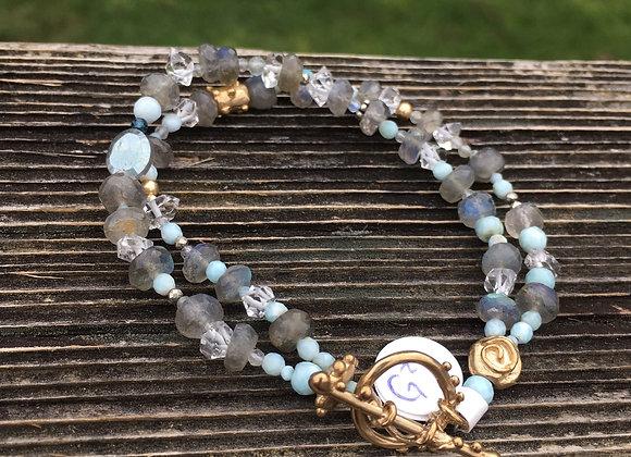 Labradorite and Larimar bracelet