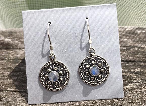 Moonstone flower motif earrings